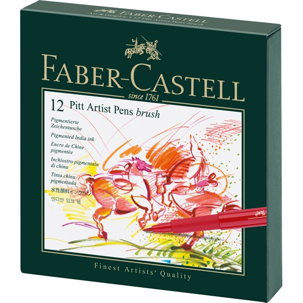 Popisovač PITT artist pen Brush Studio Box, 12ks Faber Castell (167146)