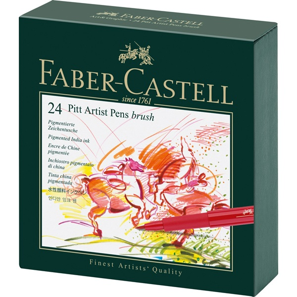 Popisovač PITT artist pen Brush Studio Box, 24ks Faber Castell (167147)