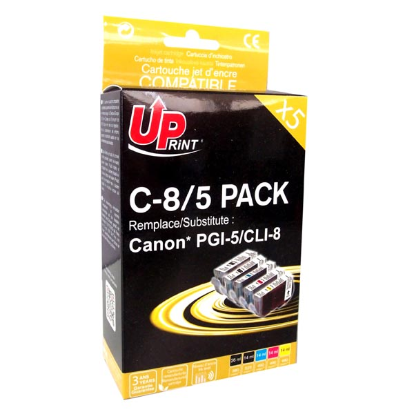 ink.UP Canon CLI8, 2xblack/1xcyan/1xmagenta/1xyellow, C8/5 PACK s čipem