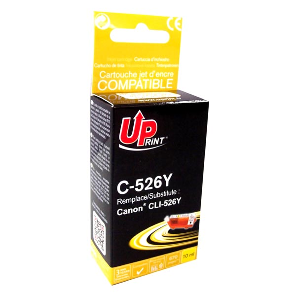 ink.UP Canon CLI526Y, yellow, 10ml s čipem - expirace 8/2016  1ks skladem